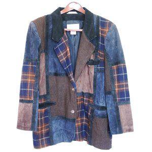 vintage patchwork leather wool suede blazer
